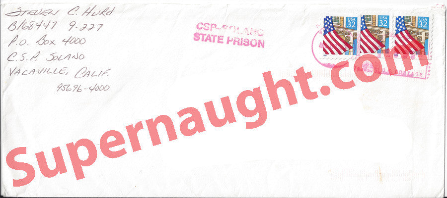 Steven Hurd prison stamped envelope signed - Supernaught True Crime Collectibles
