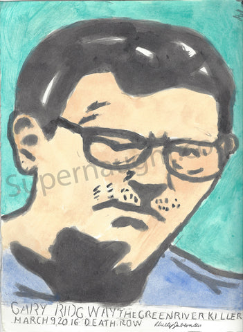 Phillip Jablonski Signed Portrait of Gary Ridgway - Supernaught True Crime Collectibles