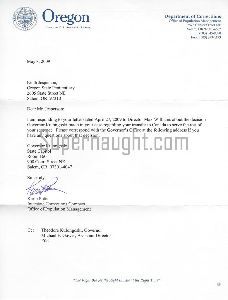 Keith Jesperson Interstate Transfer Letter