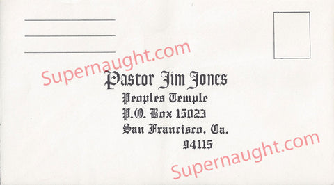 Jonestown Pastor Jim Jones People's Temple Unused Envelope - Supernaught True Crime Collectibles