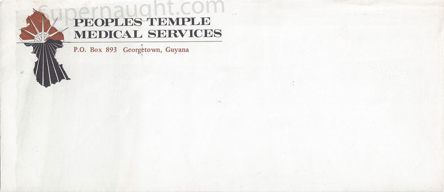 People's Temple Jim Jones Jonestown medical envelope - Supernaught True Crime Collectibles