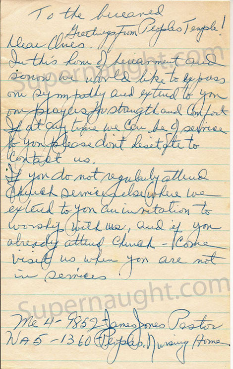 Pastor Jim Jones Peoples Temple 1957 letter and envelope - Supernaught True Crime Collectibles - 1