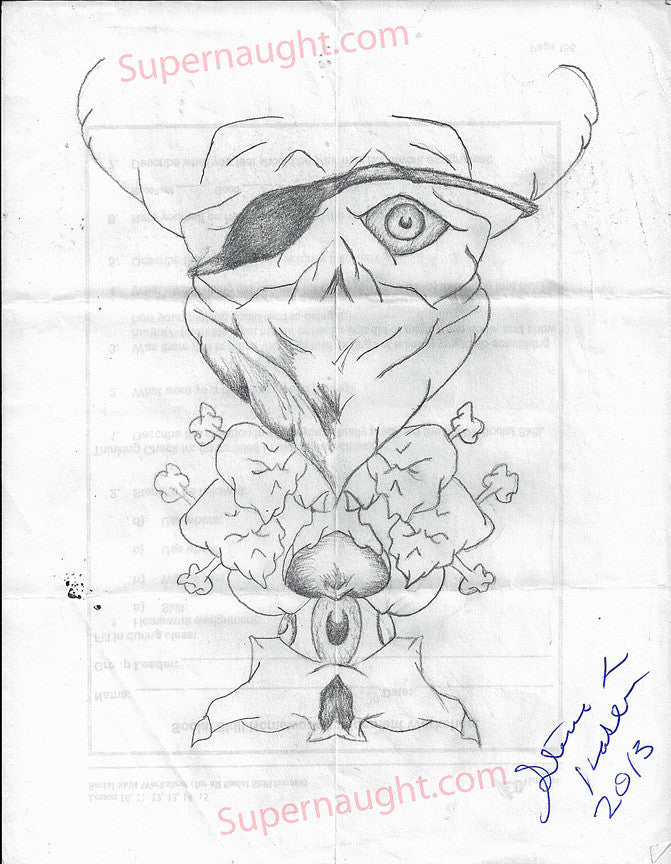 Steven Kasler Skull with Eye Patch Signed Drawing - Supernaught True Crime Collectibles