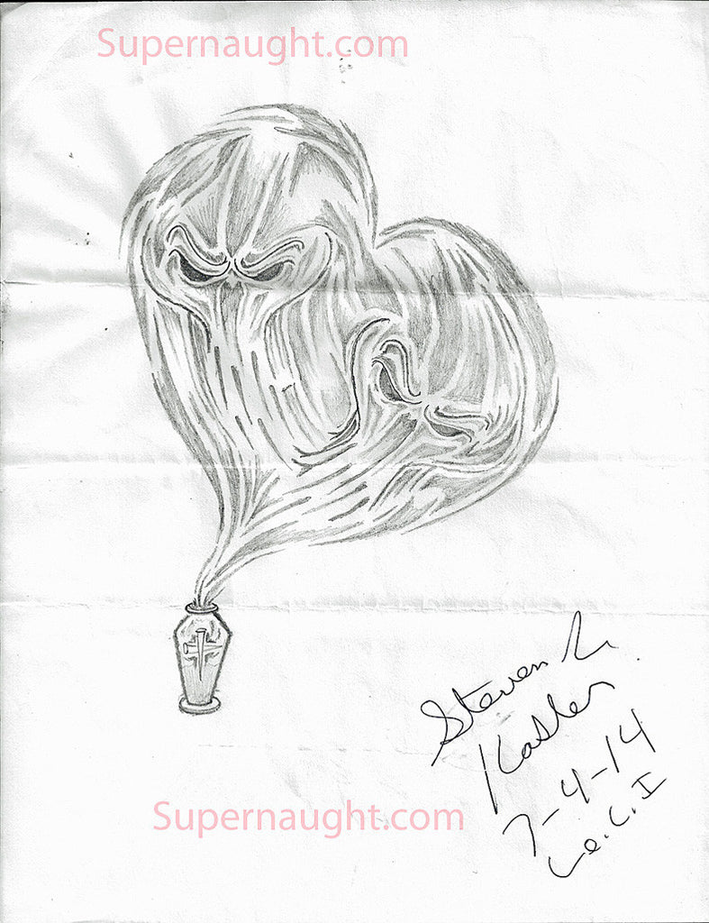 Steven Kasler heart shaped skulls artwork signed - Supernaught True Crime Collectibles