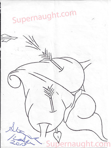 Steven Kasler Drawing of a Heart Signed and Dated - Supernaught True Crime Collectibles