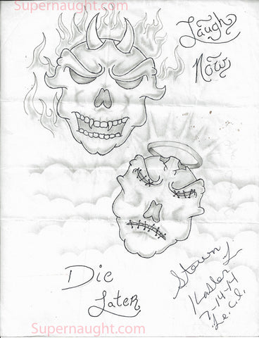Steven Kasler Laugh Now Die Later Drawing Signed - Supernaught True Crime Collectibles - 1