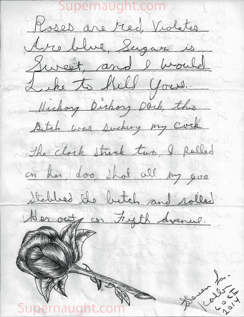 Steven Kasler Poem and Rose Drawing with Letter Signed - Supernaught True Crime Collectibles - 1