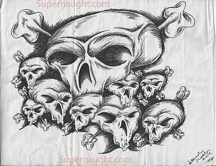 Steven Kasler Skull Collage Drawing Signed - Supernaught True Crime Collectibles