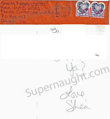 Shea Charity Keesee prison card and envelope both signed - Supernaught True Crime Collectibles