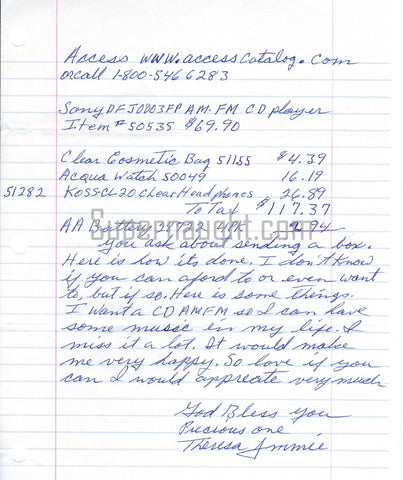 Theresa Jimmie Knorr signed letter