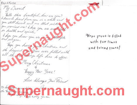Rex Krebs Christmas card and envelope set both signed - Supernaught True Crime Collectibles