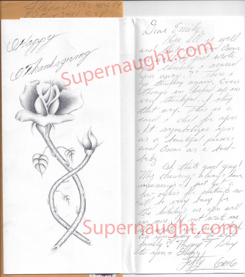 Gregory Kuhn handmade holiday card envelope both signed - Supernaught True Crime Collectibles