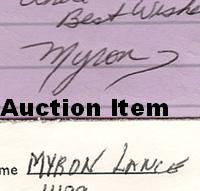 Myron Lance letter and envelope set both signed - Supernaught True Crime Collectibles