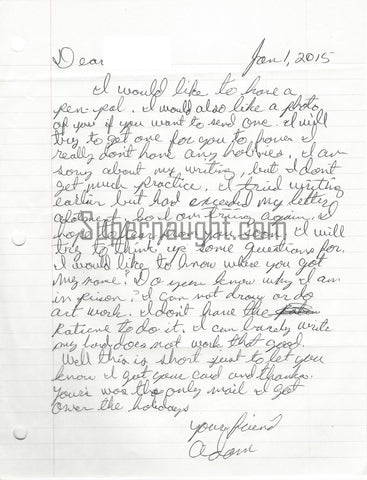 Adam Lane Prison Letter and Envelope Set Both Signed