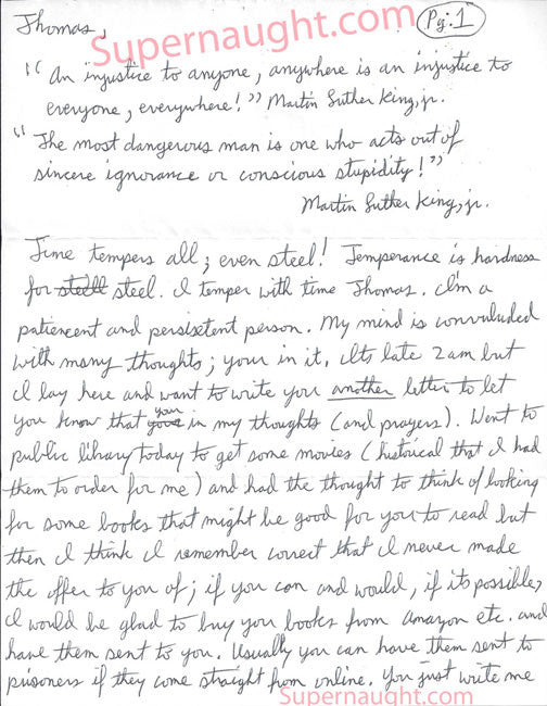 Thomas TJ Lane 6 page admirer letter signed I love you Jeremy - Supernaught True Crime Collectibles - 1