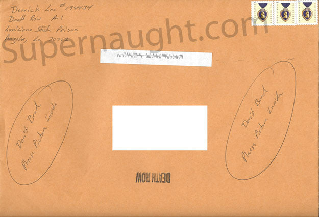 Derrick Lee Signed Prison Stamped Envelope - Supernaught True Crime Collectibles