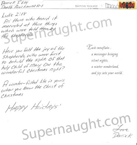 Derrick Lee Christmas card and envelope set both signed - Supernaught True Crime Collectibles