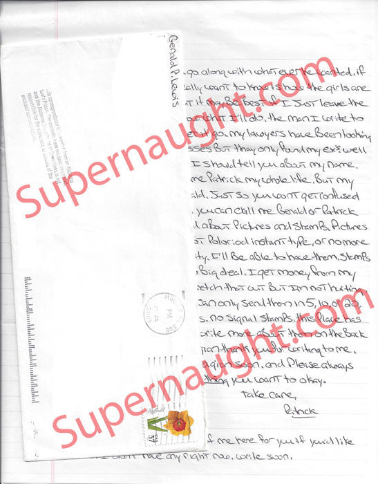 Gerald Patrick Lewis 7 page letter and envelope both signed - Supernaught True Crime Collectibles