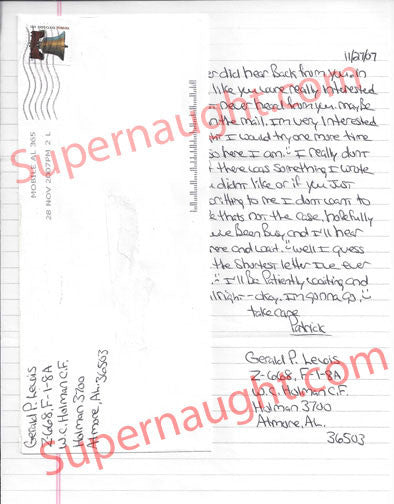 Gerald Patrick Lewis signed letter deceased serial killer alabama