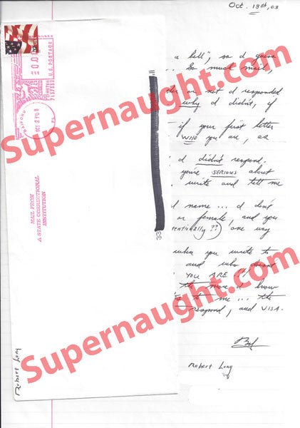 Robert Long letter and envelope set both signed - Supernaught True Crime Collectibles