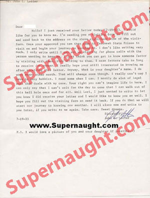 John Lotter letter signed with prison envelope - Supernaught True Crime Collectibles