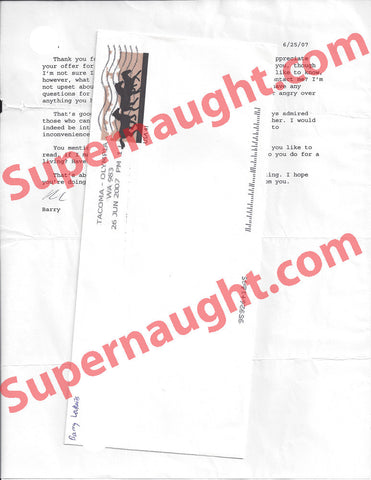 Barry Loukaitis letter and envelope set both signed - Supernaught True Crime Collectibles