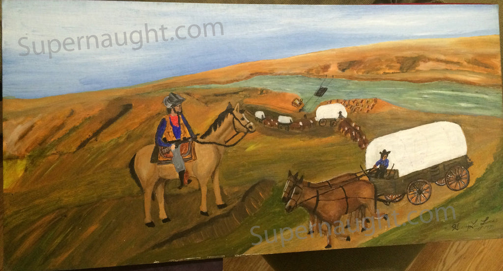Henry Lee Lucas western oil painting signed on both sides - Supernaught True Crime Collectibles - 1