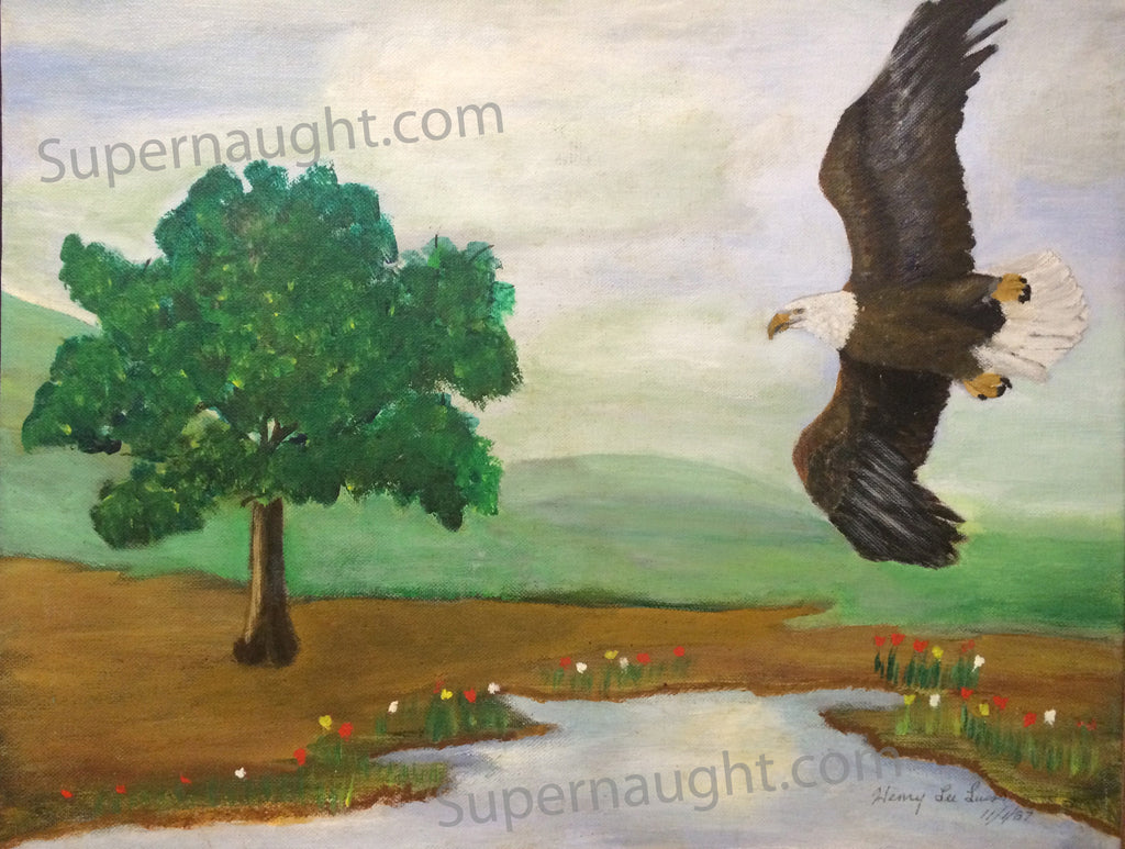 Henry Lee Lucas 1987 Eagle and Stream Oil Painting from Death Row Signed - Supernaught True Crime Collectibles - 1