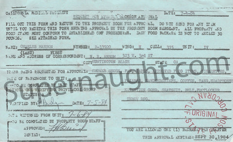 Charles Manson 1984 Three Page Package Approval Form