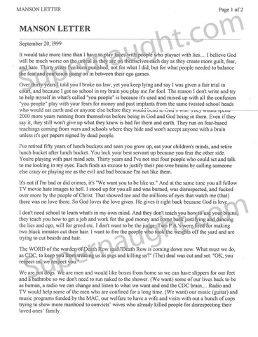 Charles Manson 1999 ATWA Website Letter Signed - Supernaught True Crime Collectibles - 1