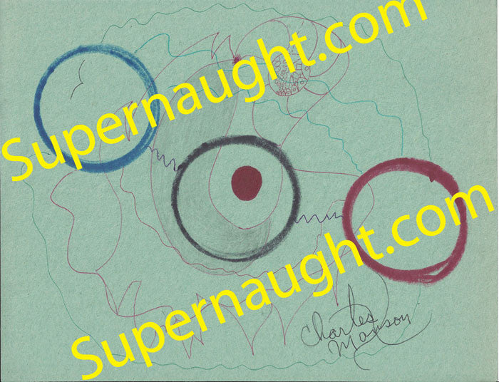 Charles Manson Circles on Green Artwork Signed - Supernaught True Crime Collectibles