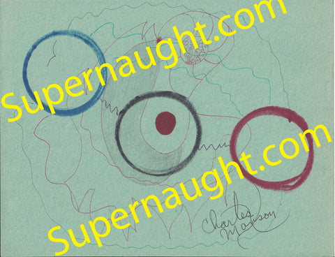 Charles Manson Circles on Green Signed Artwork - Supernaught True Crime Collectibles