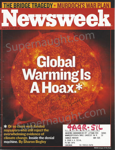Charles Manson Global Warming Newsweek Signed
