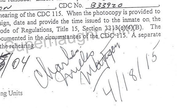 Charles Manson Rules Violation Rehearing Signed in full - Supernaught True Crime Collectibles - 1