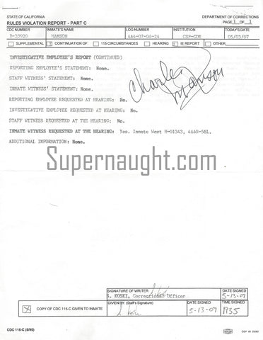 Charles Manson Seven Page 2007 Rules Violation Report Signed