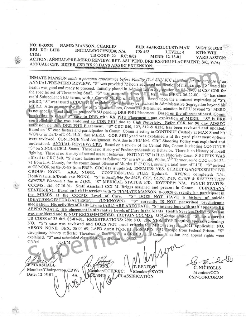 Charles Manson Classification Review Signed - Supernaught True Crime Collectibles - 1