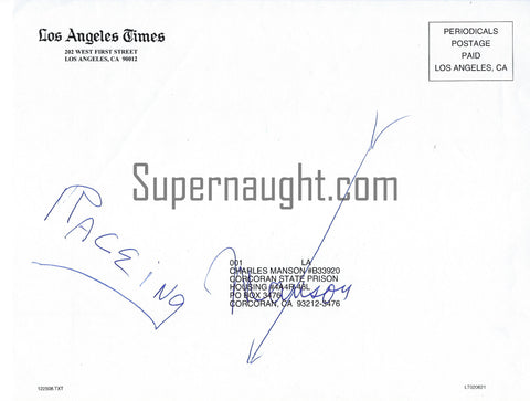 Charles Manson Signed LA Times Christmas Day Newspaper