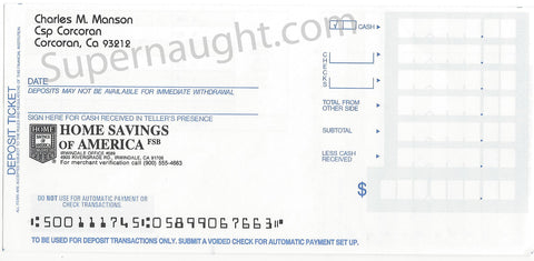 Charles Manson Bank Account Deposit Slip - Supernaught True Crime Collectibles