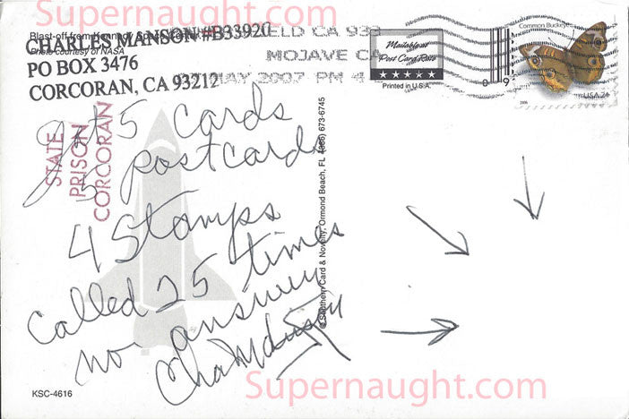 Charles Manson Kennedy Space Center Postcard Signed - Supernaught True Crime Collectibles - 1