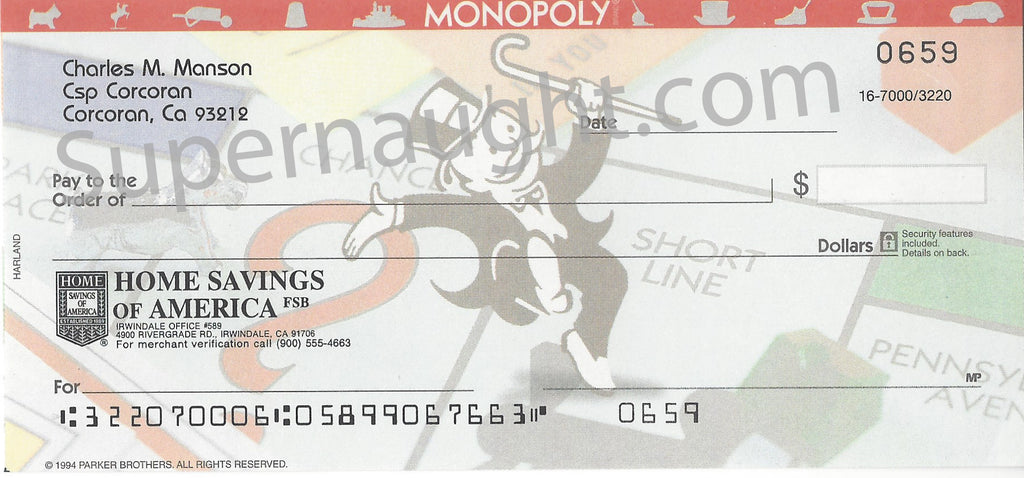 Charles Manson Monopoly Check from Checking Account - Supernaught True Crime Collectibles