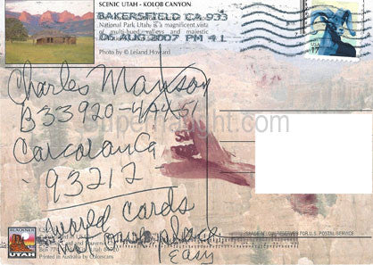 Charles Manson Scenic Utah postcard signed - Supernaught True Crime Collectibles - 1
