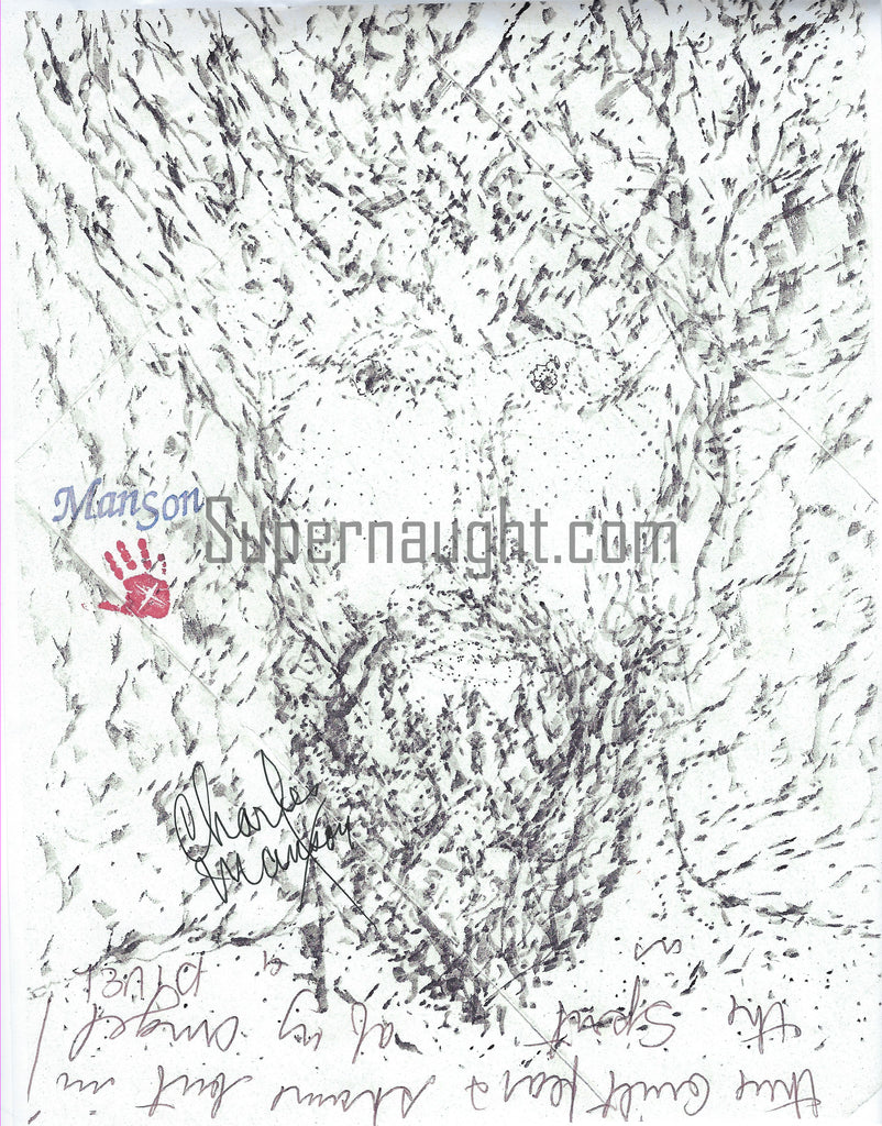 Charles Manson Signed Self Portrait