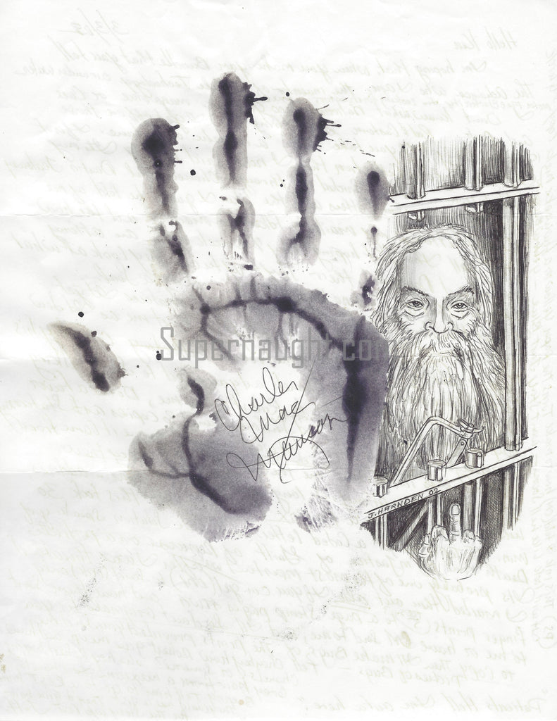 Charles Manson Signed Hand Print Portrait Drawing