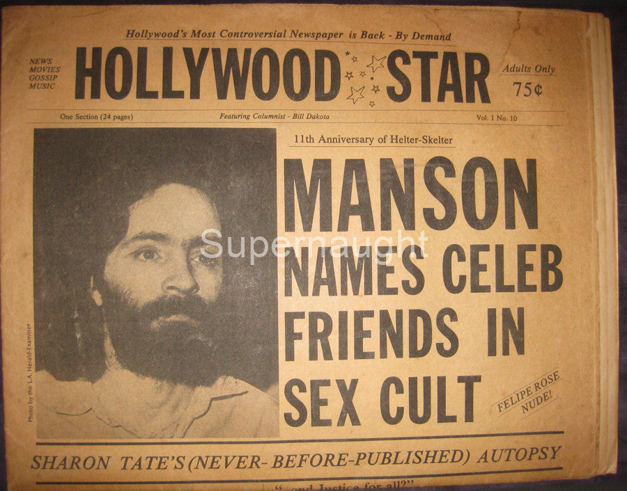 Hollywood Star Newspaper Manson Names Celeb Friends in Sex Cult