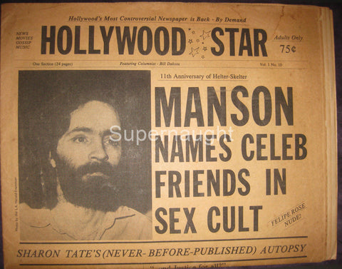 Hollywood Star Manson Names Celeb Friends in Sex Cult Newspaper - Supernaught True Crime Collectibles