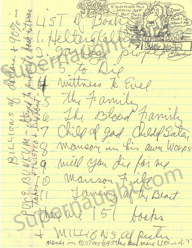 Charles Manson Cartoon with List of Case Related Books Signed - Supernaught True Crime Collectibles - 1