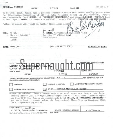 Charles Manson Signed Classification Document