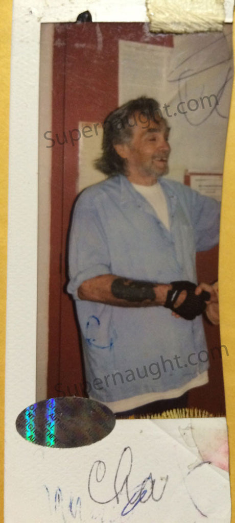 Charles Manson signed prison polaroid photo