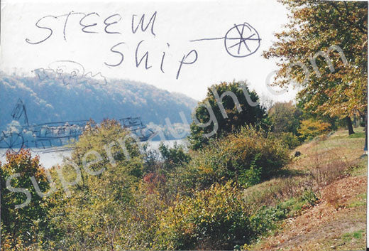 Charles Manson mountain man steam ship drawing on photo - Supernaught True Crime Collectibles