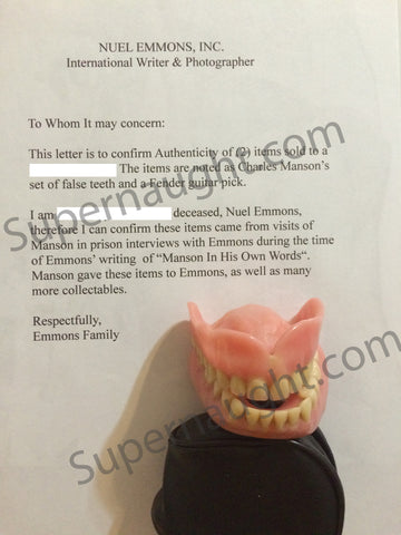 Charles Manson Authentic Dentures From Prison